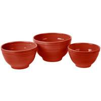 Homer Laughlin 967326 Fiesta Scarlet 3-Piece Prep Baking Bowl Set - 2/Case