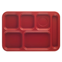 Cambro PS1014416 Penny-Saver 10 inch x 14 1/2 inch Cranberry 6 Compartment Serving Tray - 24/Case