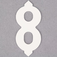 1 inch White Molded Plastic Number 8 Deli Tag Insert - 50 / Set