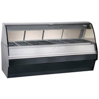 Alto-Shaam TY2SYS-96/PL SS Stainless Steel Heated Display Case with Curved Glass and Base - Left Self Service 96 inch