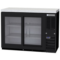 Beverage-Air BB48HC-1-GS-B-27 48 inch Black Back Bar Refrigerator with Sliding Glass Doors and Stainless Steel Top - 115V