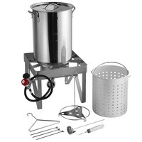 Backyard Pro BP30-SSKIT All Stainless Steel 30 Qt. Turkey Fryer Kit / Steamer Kit - 55,000 BTU