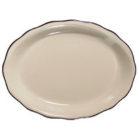 CAC SC-13B Seville 11 5/8 inch x 8 1/2 inch Ivory (American White) Scalloped Edge China Platter with Black Band - 12/Case