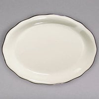 11 5/8 inch x 8 1/2 inch Ivory (American White) Scalloped Edge China Platter with Black Band - 12/Case