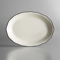Choice 11 5/8 inch x 8 1/2 inch Ivory (American White) Scalloped Edge Stoneware Platter with Black Band - 12/Case