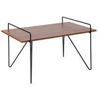 Flash Furniture NAN-JH-1792CT-GG Porter 31 1/2 inch x 20 3/4 inch x 18 1/2 inch Rectangular Cherry Wood Grain Finish Coffee Table with Black Metal Legs