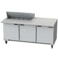 Beverage-Air SPE72HC-10C 72 inch 3 Door Cutting Top Refrigerated Sandwich Prep Table with 17 inch Wide Cutting Board