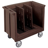Cambro TDC30131 Dark Brown Adjustable Tray and Dish Cart with Vinyl Cover