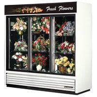 True GDM-69FC-LD White Three Glass Sliding Door Floral Case