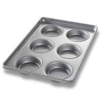 Chicago Metallic 41006 6 Mold Glazed Individual Hamburger Bun / Muffin Top / Cookie Pan
