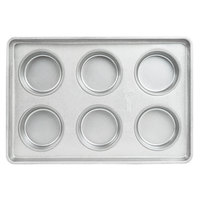 Chicago Metallic 41006 6 Mold Glazed Customizable Individual Hamburger Bun / Muffin Top / Cookie Pan