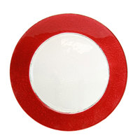 10 Strawberry Street HAL-RED340 13 inch Colored Rim Red Rim Glass Charger Plate