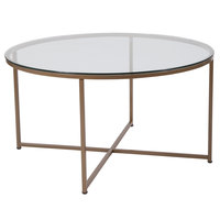 Flash Furniture NAN-JH-1786CT-GG Greenwich 35 1/2 inch x 19 1/4 inch Round Clear Glass Coffee Table with Matte Gold Metal Legs