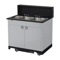 Vollrath 75673 SILVER Portable Triple Bowl Hand Sink Cart 120V