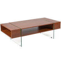 Flash Furniture NAN-JH-1744-GG Lafayette Place 47 1/4 inch x 23 3/4 inch x 14 1/2 inch Rectangular Cherry Wood Grain Finish Coffee Table with Clear Glass Legs