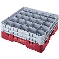 Cambro 25S318416 Camrack 3 5/8 inch High Customizable Cranberry 25 Compartment Glass Rack