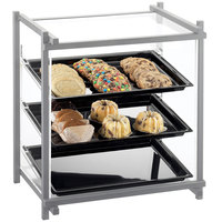 Cal-Mil 1143-74 One By One Three Tier Silver Display Case with Rear Door - 16 1/2 inch x 14 inch x 22 inch