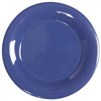 GET WP-12-PB Diamond Mardi Gras 12 inch Peacock Blue Wide Rim Round Melamine Plate - 12/Case