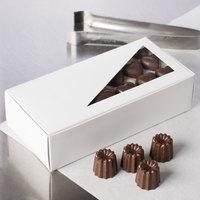 7 1/8 inch x 3 3/8 inch x 1 7/8 inch White 1 lb. 1-Piece Candy Box with Triangular Window   - 250/Case