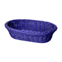 GET WB-1505-BL Designer Polyweave 11 3/4 inch x 8 inch x 3 inch Blue Oval Plastic Basket - 12/Case