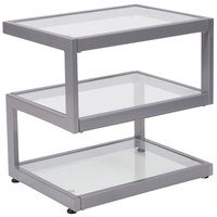 Flash Furniture NAN-JH-1736-GG Ashmont 21 1/4 inch x 15 3/4 inch x 21 inch Rectangular Clear Glass End Table with S-Shaped Silver Metal Frame