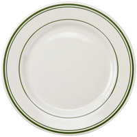 Tuxton TGB-016 Green Bay 10 1/2 inch Eggshell Wide Rim Rolled Edge China Plate with Green Bands - 12/Case