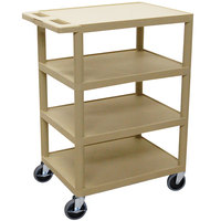Luxor / H. Wilson BC45 Putty 4 Shelf Serving Cart - 18 inch x 24 inch x 36 inch