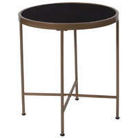 Flash Furniture NAN-JN-21751ET-GG Chelsea 19 1/2 inch x 21 1/4 inch Round Black Glass End Table with Matte Gold Metal Legs
