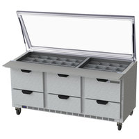 Beverage Air SPED72HC-30M-6-STL 72 inch 6 Drawer Mega Top Glass Lid Refrigerated Sandwich Prep Table