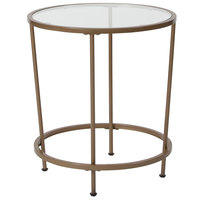 Flash Furniture NAN-JN-21750ET-GG Astoria 19 1/2 inch x 21 1/2 inch Round Clear Glass End Table with Matte Gold Metal Legs