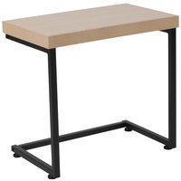 Flash Furniture NAN-JH-1739-GG Hyde Square 19 3/4 inch x 11 3/4 inch x 18 1/2 inch Rectangular Beechwood Grain Finish Side Table with Black Metal Cantilever Base