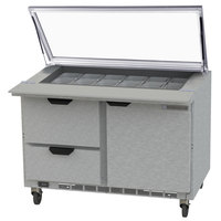 Beverage Air SPED48HC-18M-2-STL 48 inch 1 Door 2 Drawer Mega Top Glass Lid Refrigerated Sandwich Prep Table