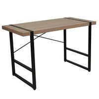 Flash Furniture NAN-JN-21738-GG Hanover Park 47 1/4 inch x 23 3/4 inch x 30 inch Rectangular Rustic Wood Grain Finish Console Table with Black Metal Frame