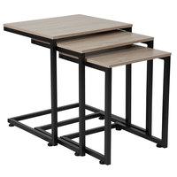 Flash Furniture NAN-JN-21741NT-GG Midtown 3-Piece Rectangular Sonoma Oak Wood Grain Finish Nesting Table with Black Metal Cantilever Base