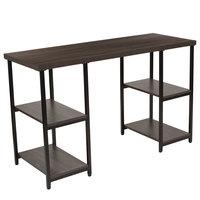 Flash Furniture NAN-JN-21704-GG Homewood 47 1/4 inch x 18 inch x 29 1/4 inch Rectangular Driftwood Wood Grain Finish Console Table with Black Metal Legs