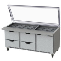 Beverage Air SPED72HC-30M-4-STL 72 inch 1 Door 4 Drawer Mega Top Glass Lid Refrigerated Sandwich Prep Table