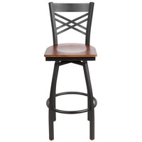 Lancaster Table & Seating Cross Back Bar Height Black Swivel Chair with Antique Walnut Seat