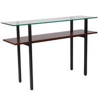 Flash Furniture NAN-JH-1742-GG West End 47 1/4 inch x 13 1/2 inch x 29 3/4 inch Rectangular Clear Glass Console Table with Walnut Wood Shelf and Black Metal Legs