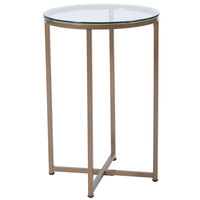 Flash Furniture NAN-JH-1786ET-GG Greenwich 16 inch x 23 1/2 inch Round Clear Glass End Table with Matte Gold Metal Legs