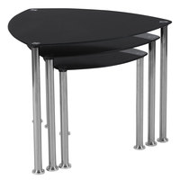 Flash Furniture HG-112439-GG Pacific Heights 3-Piece Black Glass Nesting Tables with Stainless Steel Legs