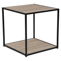 Flash Furniture NAN-JN-21744ET-GG Midtown 19 1/2 inch x 19 1/2 inch x 20 inch Square Sonoma Oak Wood Grain Finish End Table with Black Metal Frame