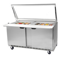Beverage Air SPE48HC-18M-STL-018 48 inch 2 Door Mega Top Glass Lid Refrigerated Sandwich Prep Table with Stainless Steel Back