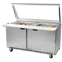 Beverage-Air SPE60HC-24M-STL-018 60 inch 2 Door Mega Top Glass Lid Refrigerated Sandwich Prep Table with Stainless Steel Back