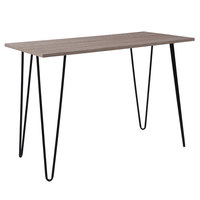 Flash Furniture NAN-JH-1702-GG Oak Park 40 1/4 inch x 19 3/4 inch x 27 1/2 inch Rectangular Driftwood Wood Grain Finish Console Table with Black Metal Legs