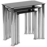 Flash Furniture HG-112349-GG 3-Piece Riverside Black Glass Nesting Tables with Stainless Steel Legs