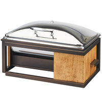 Cal-Mil 3907-84 Sierra Bronze Metal and Reclaimed Wood Full Size Chafer with Lid - 22 inch x 15 inch x 14 inch