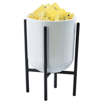 Cal-Mil 22006-8 32 oz. White Melamine Crock with 8 inch Black Wire Stand