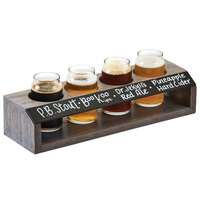 Cal-Mil 3824 4-Hole Gray Wood Taster Flight with Chalkboard Front