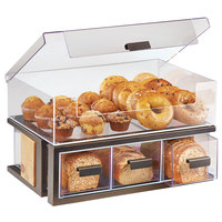 Cal-Mil 3908-84 Sierra Bronze Metal and Reclaimed Wood 2-Tier Bread Display Case - 22 1/2 inch x 14 3/4 inch x 13 3/4 inch