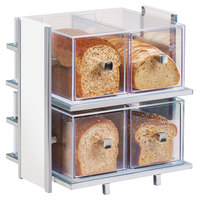 Cal-Mil 1279-15 Eco Modern White Two Tier Bread Display Case - 14 inch x 11 1/2 inch x 15 inch